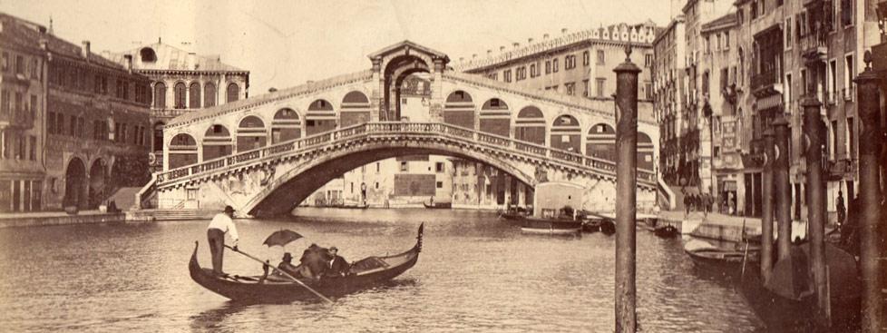 Stowarzyszenie Historyków Fotografii - Giovanni Baptista Brusa, Wenecja, Ponte di Rialto, ok. 1870 (fragment)